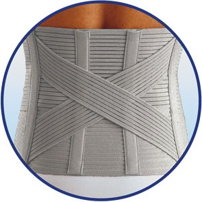Particular of the special reinforced back crossed  support for a healthy supporting action of the lumbosacral rachis.